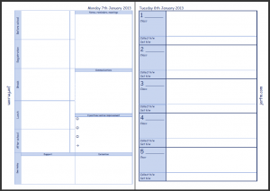 The second page of the Teacher Planner page and thenTuesday's planner page.