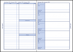 The second page of the weekend Enhanced Time Management view and the following Monday's Teacher Planner page.