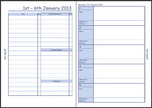 The second page of the week on 2 pages Enhanced Time Management view followed by the first page of Teacher Planner pages this is the first Monday of term.