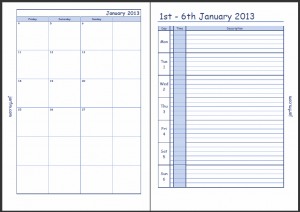 The second part of the calendar and the first page of the first week of the year in week on 2 pages Enhanced Time Management format.