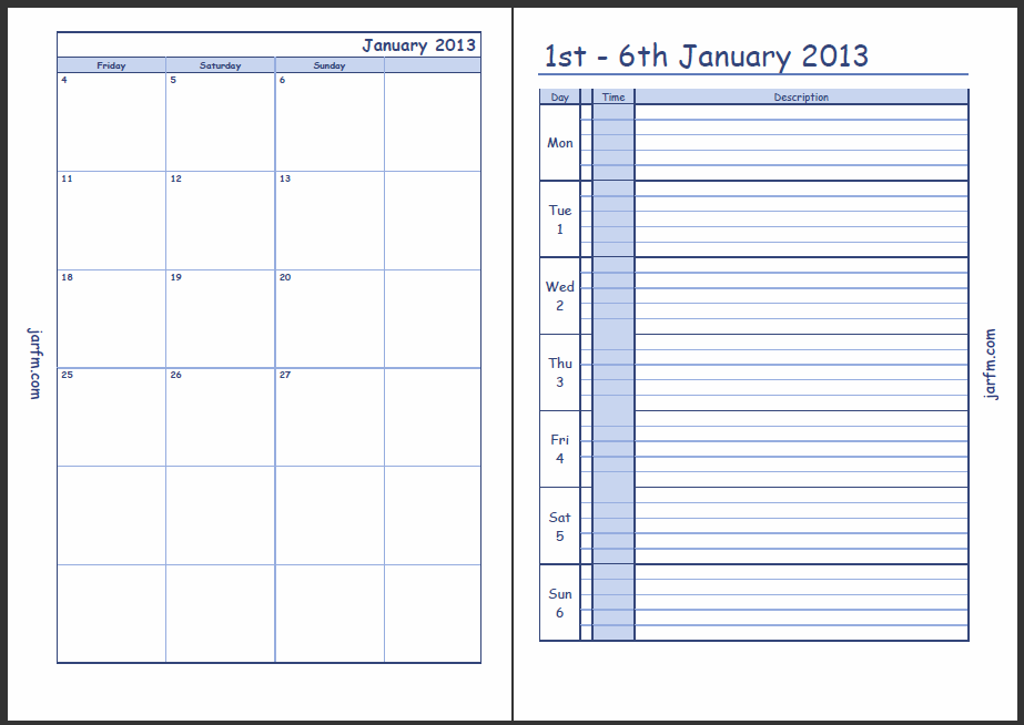 5x8 Printable Weekly Calendar With Time Slots | Blank Calendar ...