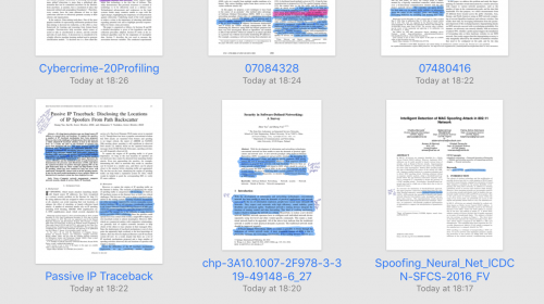 The research papers highlighted and with notes in GoodNotes